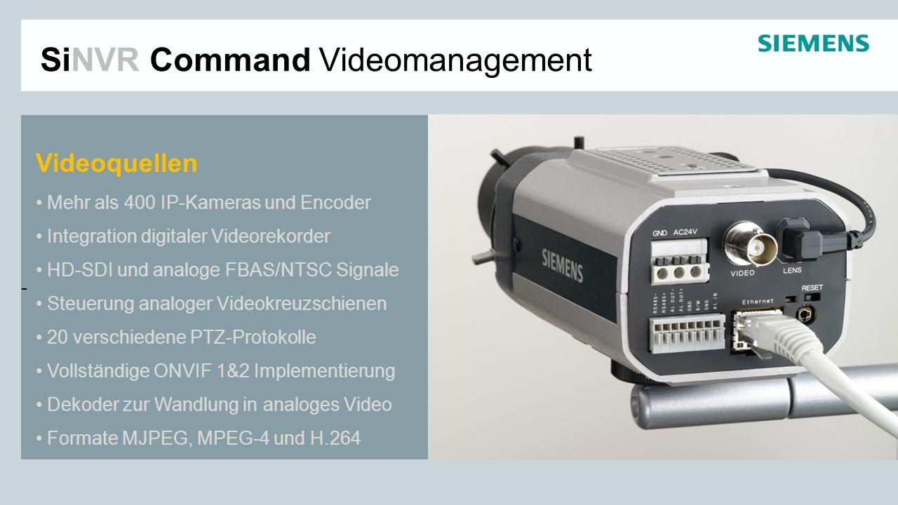 - Videoquellen Mehr als 400 IP-Kameras und Encoder Integration digitaler Videorekorder HD-SDI und analoge FBAS/NTSC Signale Steuerung analoger Videokr