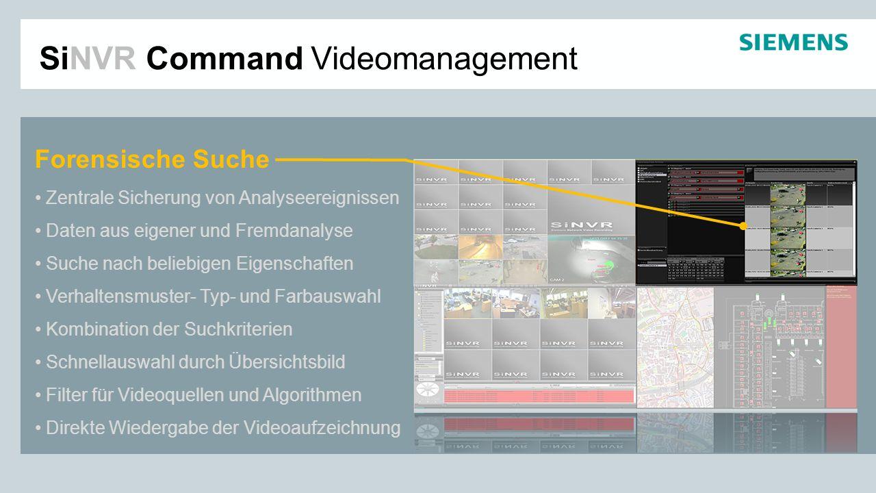 SiNVR Command Videomanagement Forensische Suche Zentrale Sicherung von Analyseereignissen Daten aus eigener und Fremdanalyse Suche nach beliebigen Eig