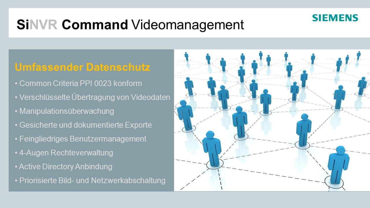 SiNVR Command Videomanagement Umfassender Datenschutz Common Criteria PPI 0023 konform Verschlüsselte Übertragung von Videodaten Manipulationsüberwach