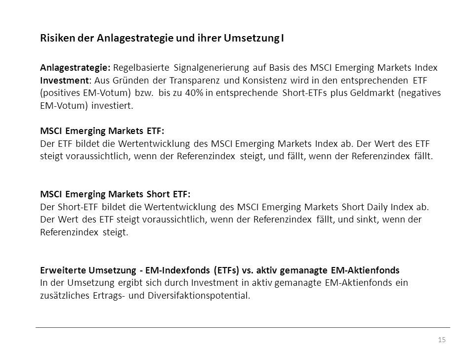 Risiken der Anlagestrategie und ihrer Umsetzung I 15 Anlagestrategie: Regelbasierte Signalgenerierung auf Basis des MSCI Emerging Markets Index Invest