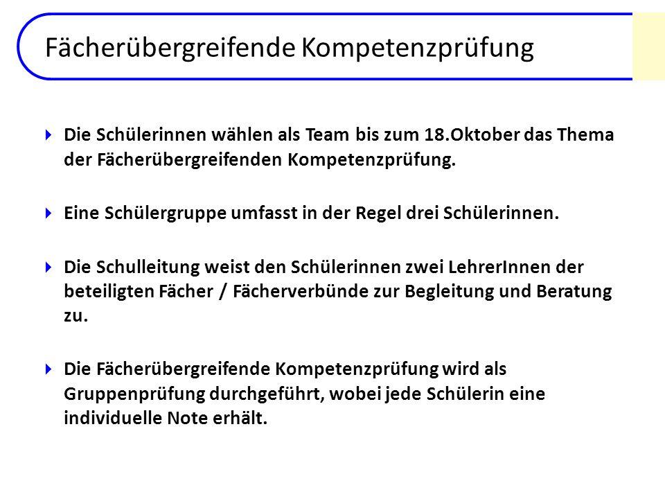Fächerübergreifende Kompetenzprüfung Die Schülerinnen wählen als Team bis zum 18.Oktober das Thema der Fächerübergreifenden Kompetenzprüfung. Eine Sch