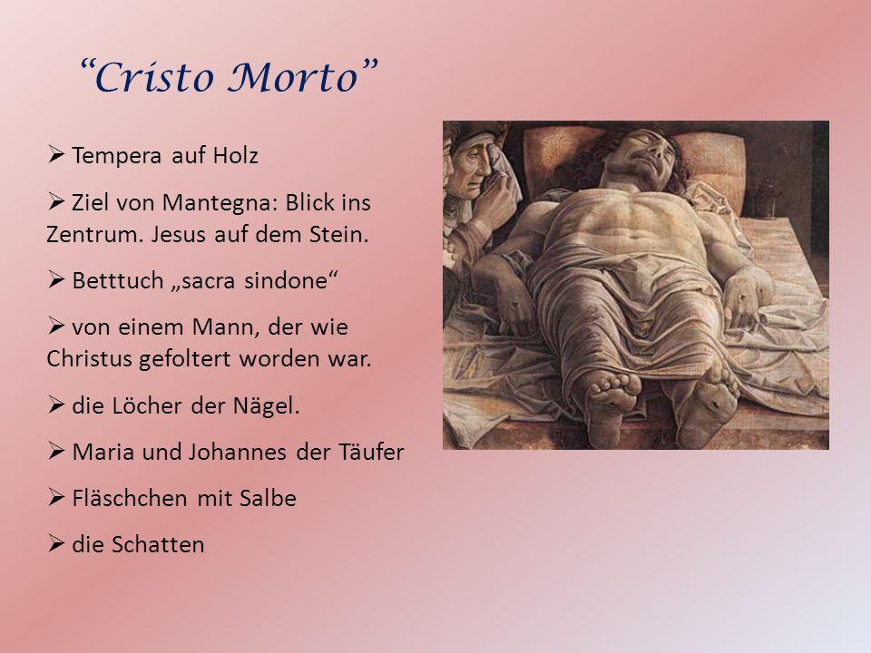 Tempera auf Holz Ziel von Mantegna: Blick ins Zentrum. Jesus auf dem Stein. Betttuch sacra sindone von einem Mann, der wie Christus gefoltert worden w