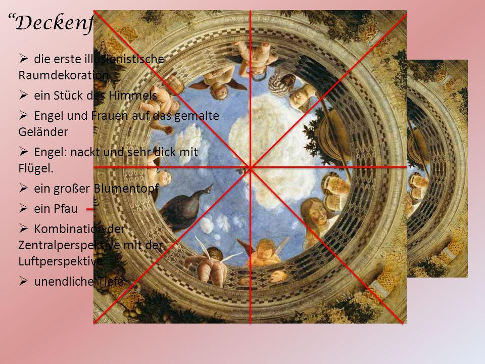Deckenfresko die erste illusionistische Raumdekoration ein Stück des Himmels Engel und Frauen auf das gemalte Geländer Engel: nackt und sehr dick mit