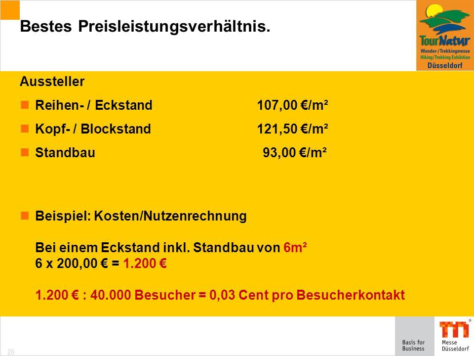 20 Aussteller Reihen- / Eckstand107,00 /m² Kopf- / Blockstand121,50 /m² Standbau93,00 /m² Beispiel: Kosten/Nutzenrechnung Bei einem Eckstand inkl.