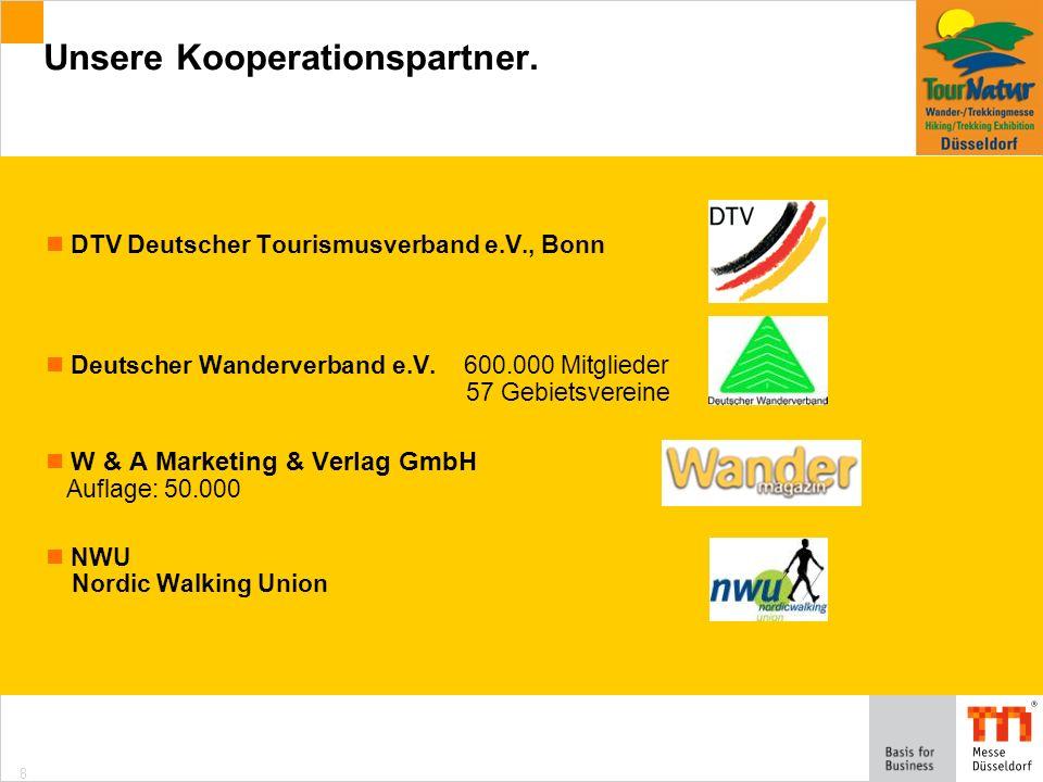 8 DTV Deutscher Tourismusverband e.V., Bonn Deutscher Wanderverband e.V.600.000 Mitglieder 57 Gebietsvereine W & A Marketing & Verlag GmbH Auflage: 50.000 NWU Nordic Walking Union Unsere Kooperationspartner.