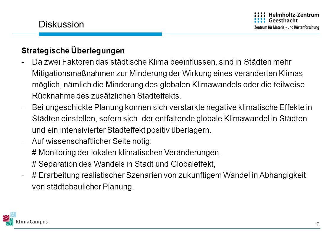Diskussion 17 Strategische Überlegungen -Da zwei Faktoren das städtische Klima beeinflussen, sind in Städten mehr Mitigationsmaßnahmen zur Minderung d
