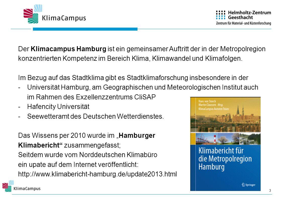 3 Der Klimacampus Hamburg ist ein gemeinsamer Auftritt der in der Metropolregion konzentrierten Kompetenz im Bereich Klima, Klimawandel und Klimafolge