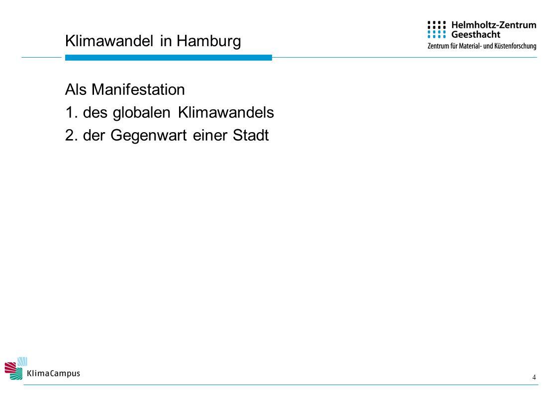 Klimawandel in Hamburg Als Manifestation 1.des globalen Klimawandels 2.der Gegenwart einer Stadt 4