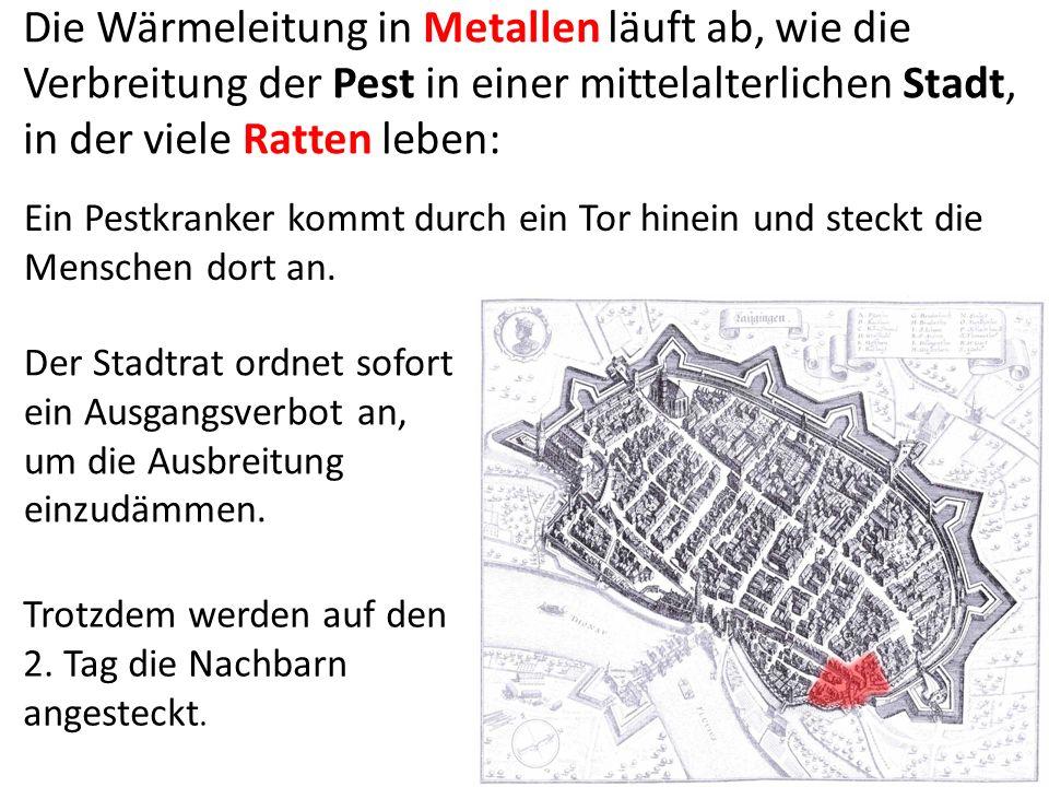 Die Wärmeleitung in Metallen läuft ab, wie die Verbreitung der Pest in einer mittelalterlichen Stadt, in der viele Ratten leben: Ein Pestkranker kommt durch ein Tor hinein und steckt die Menschen dort an.