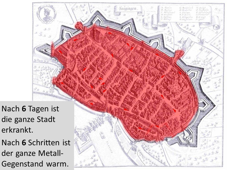 Nach 6 Tagen ist die ganze Stadt erkrankt. Nach 6 Schritten ist der ganze Metall- Gegenstand warm.