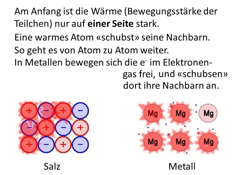 Am Anfang ist die Wärme (Bewegungsstärke der Teilchen) nur auf einer Seite stark.