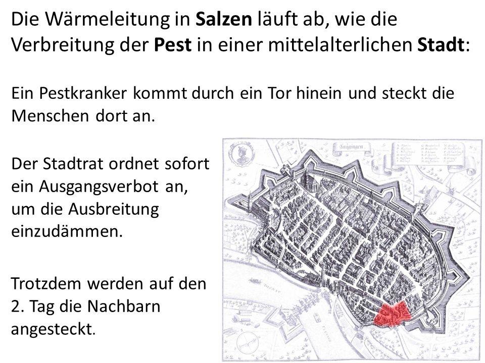 Die Wärmeleitung in Salzen läuft ab, wie die Verbreitung der Pest in einer mittelalterlichen Stadt: Ein Pestkranker kommt durch ein Tor hinein und steckt die Menschen dort an.