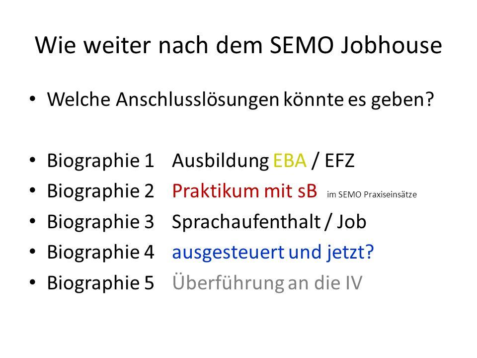 Wie weiter nach dem SEMO Jobhouse Welche Anschlusslösungen könnte es geben.