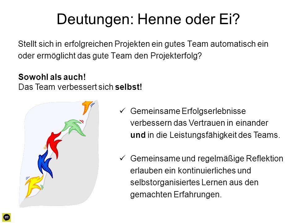 Deutungen: Henne oder Ei? Stellt sich in erfolgreichen Projekten ein gutes Team automatisch ein oder ermöglicht das gute Team den Projekterfolg? Gemei