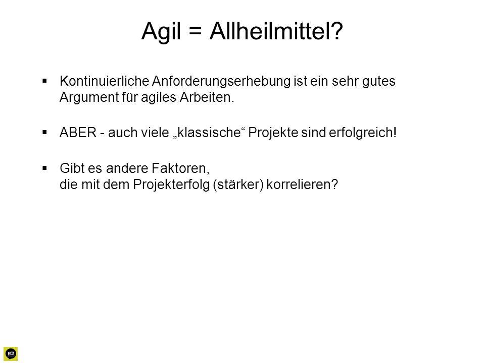 Agil = Allheilmittel? Kontinuierliche Anforderungserhebung ist ein sehr gutes Argument für agiles Arbeiten. ABER - auch viele klassische Projekte sind