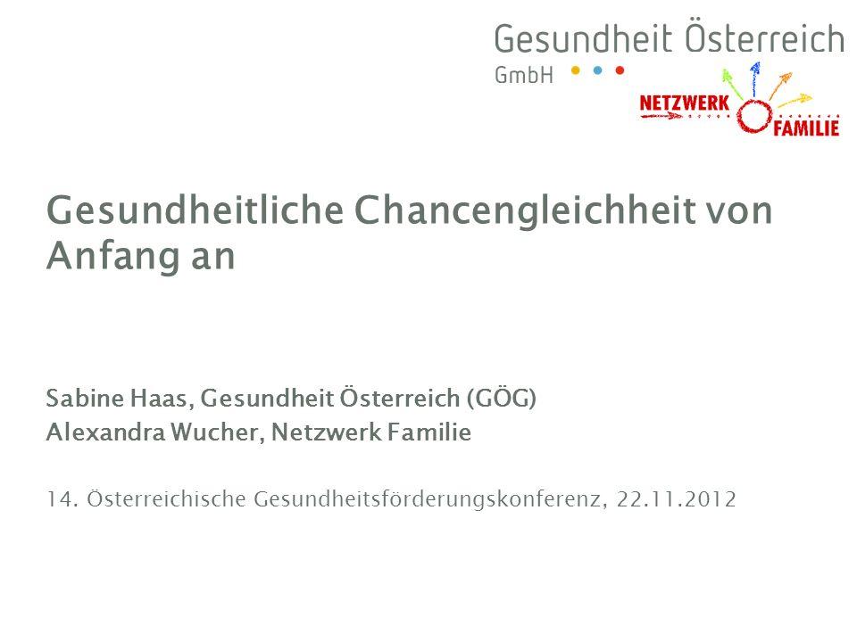 Sabine Haas, Gesundheit Österreich (GÖG) Alexandra Wucher, Netzwerk Familie 14. Österreichische Gesundheitsförderungskonferenz, 22.11.2012 Gesundheitl