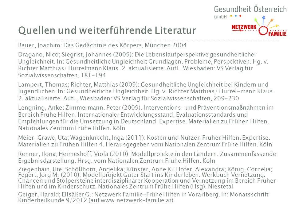Quellen und weiterführende Literatur Bauer, Joachim: Das Gedächtnis des Körpers, München 2004 Dragano, Nico; Siegrist, Johannes (2009): Die Lebenslauf