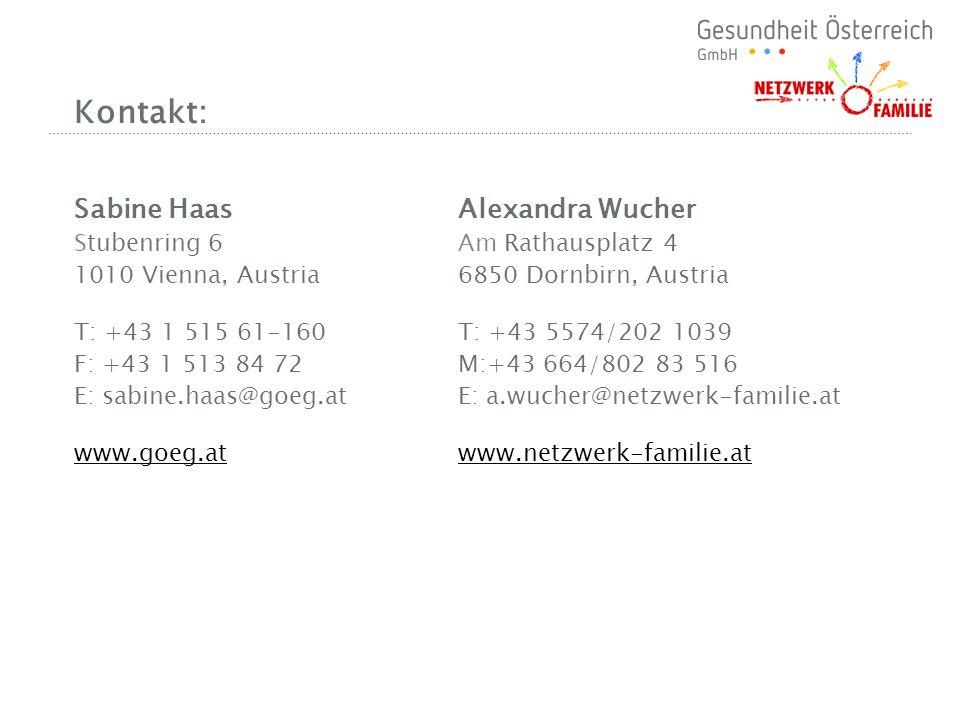 Kontakt: Sabine HaasAlexandra Wucher Stubenring 6 Am Rathausplatz 4 1010 Vienna, Austria 6850 Dornbirn, Austria T: +43 1 515 61-160T: +43 5574/202 103