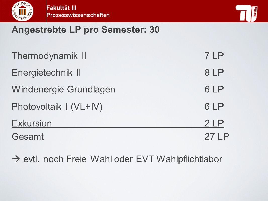 Angestrebte LP pro Semester: 30 Thermodynamik II7 LP Energietechnik II8 LP Windenergie Grundlagen 6 LP Photovoltaik I (VL+IV)6 LP Exkursion2 LP Gesamt