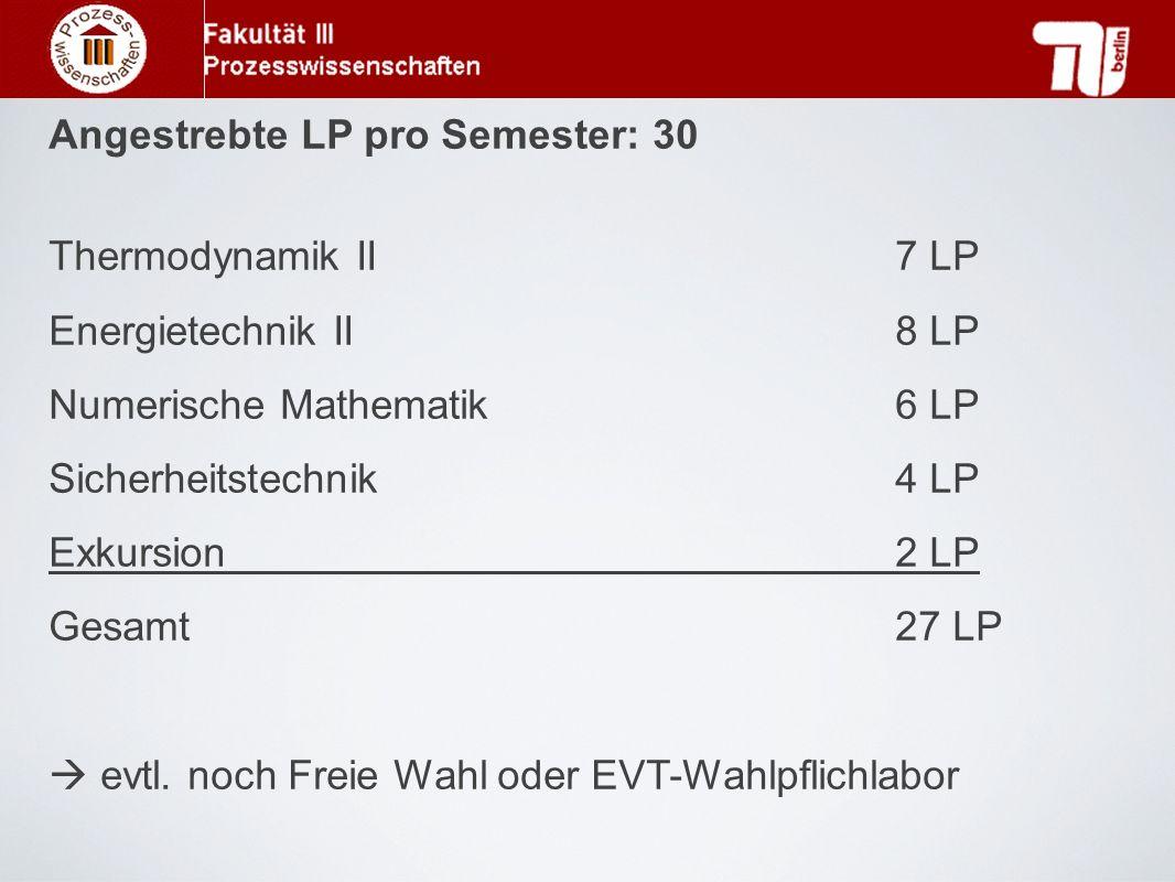 Angestrebte LP pro Semester: 30 Thermodynamik II 7 LP Energietechnik II 8 LP Numerische Mathematik6 LP Sicherheitstechnik4 LP Exkursion2 LP Gesamt27 L