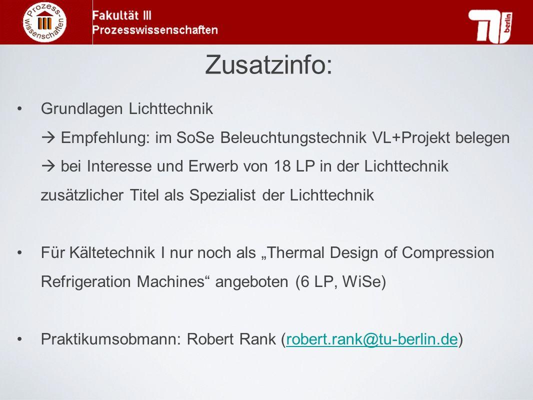Zusatzinfo: Grundlagen Lichttechnik Empfehlung: im SoSe Beleuchtungstechnik VL+Projekt belegen bei Interesse und Erwerb von 18 LP in der Lichttechnik