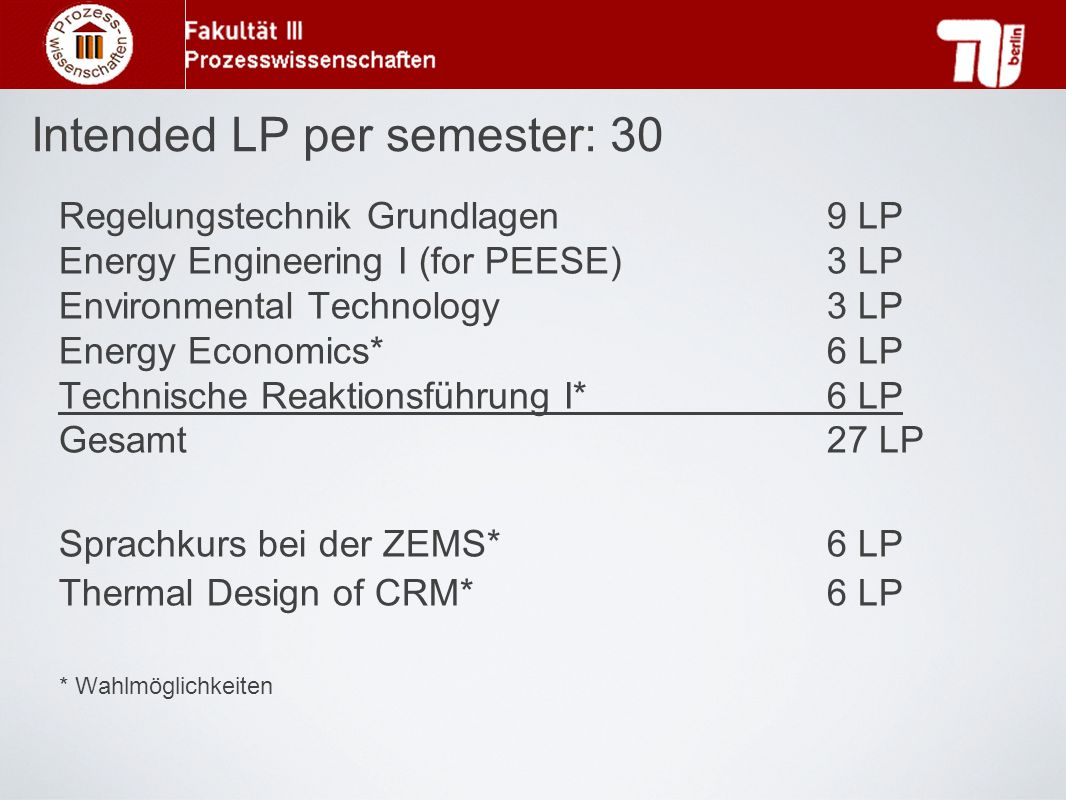 Regelungstechnik Grundlagen9 LP Energy Engineering I (for PEESE)3 LP Environmental Technology3 LP Energy Economics*6 LP Technische Reaktionsführung I*