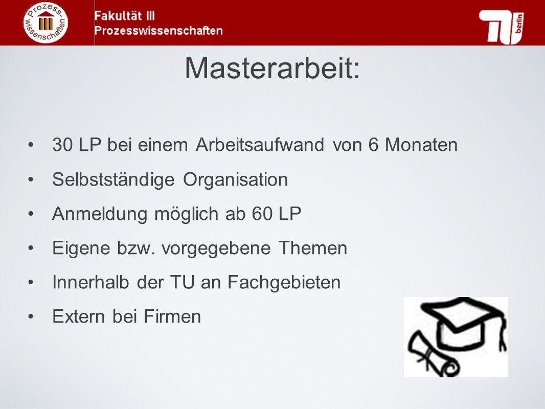 Masterarbeit: 30 LP bei einem Arbeitsaufwand von 6 Monaten Selbstständige Organisation Anmeldung möglich ab 60 LP Eigene bzw. vorgegebene Themen Inner