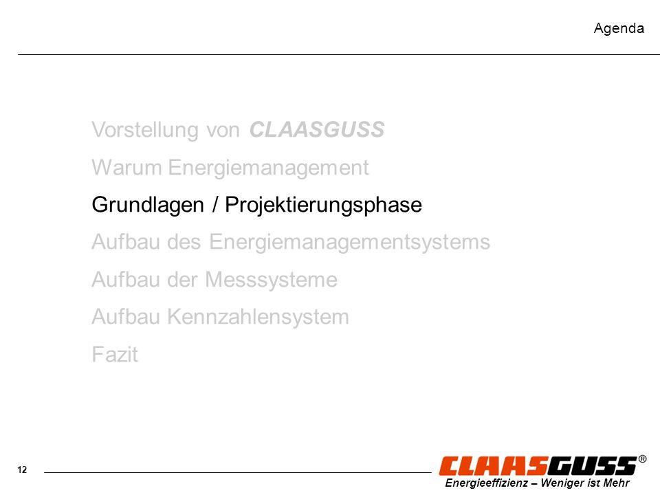 12 Energieeffizienz – Weniger ist Mehr Agenda Vorstellung von CLAASGUSS Warum Energiemanagement Grundlagen / Projektierungsphase Aufbau des Energieman