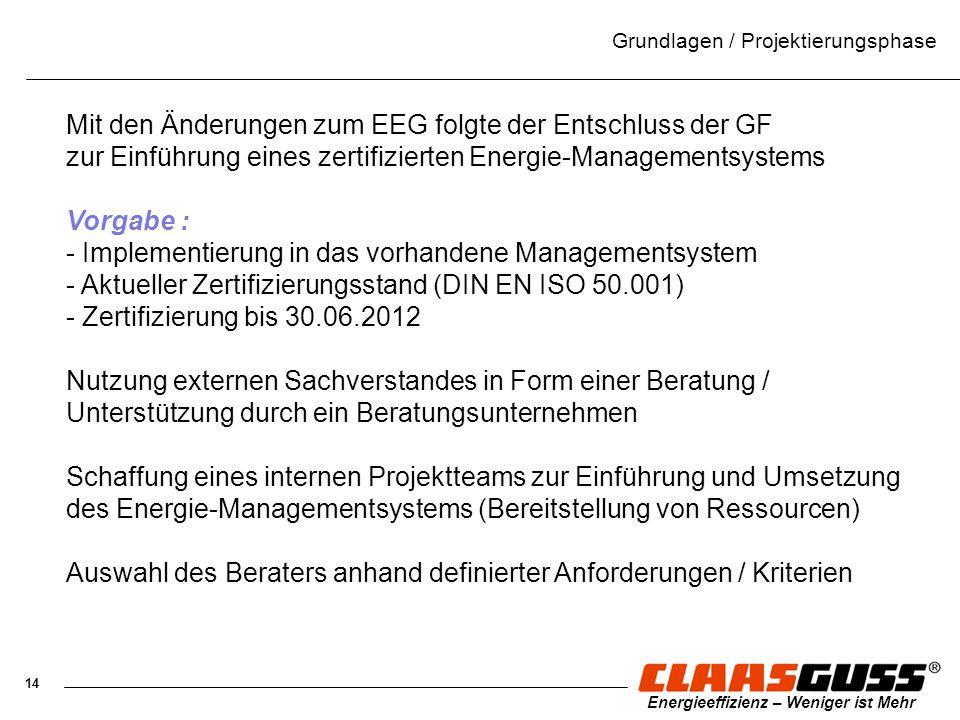 14 Energieeffizienz – Weniger ist Mehr Grundlagen / Projektierungsphase Mit den Änderungen zum EEG folgte der Entschluss der GF zur Einführung eines z