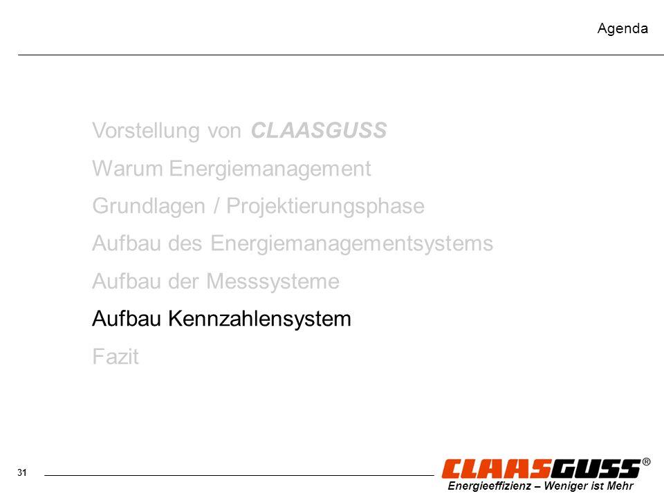 31 Energieeffizienz – Weniger ist Mehr Agenda Vorstellung von CLAASGUSS Warum Energiemanagement Grundlagen / Projektierungsphase Aufbau des Energieman