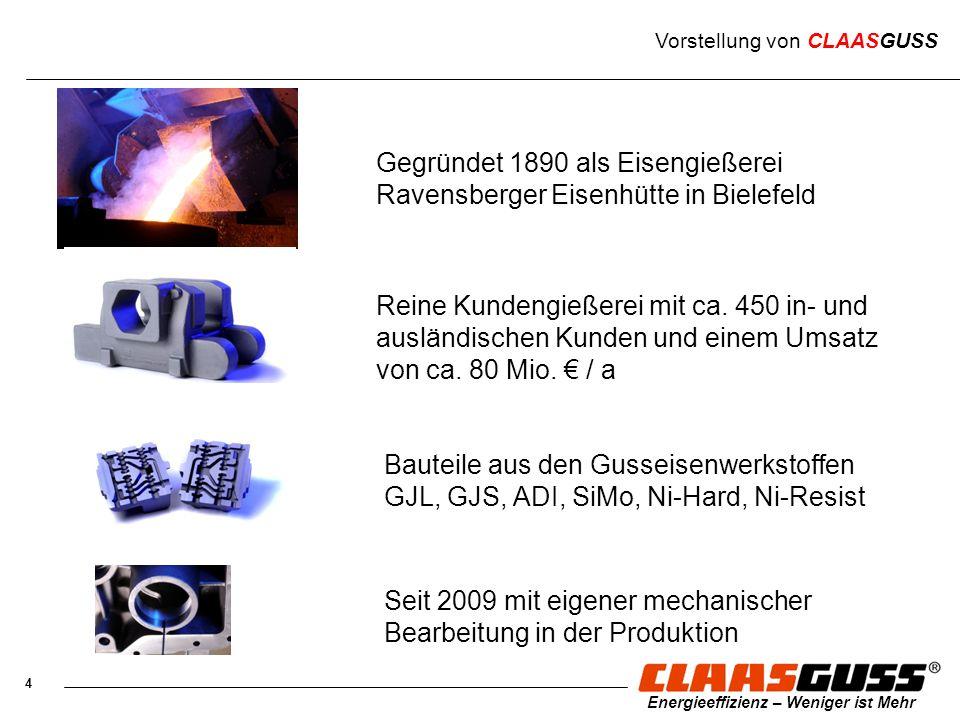 4 Energieeffizienz – Weniger ist Mehr Vorstellung von CLAASGUSS Gegründet 1890 als Eisengießerei Ravensberger Eisenhütte in Bielefeld Reine Kundengieß