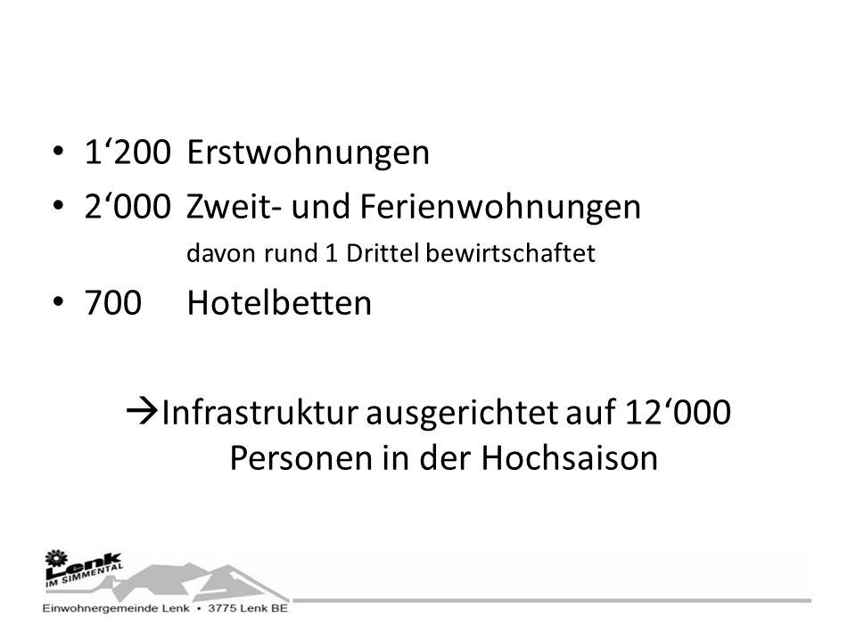 1200Erstwohnungen 2000Zweit- und Ferienwohnungen davon rund 1 Drittel bewirtschaftet 700Hotelbetten Infrastruktur ausgerichtet auf 12000 Personen in der Hochsaison