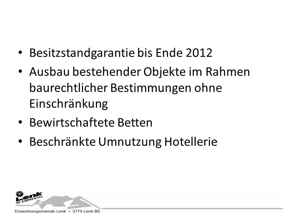 Besitzstandgarantie bis Ende 2012 Ausbau bestehender Objekte im Rahmen baurechtlicher Bestimmungen ohne Einschränkung Bewirtschaftete Betten Beschränkte Umnutzung Hotellerie