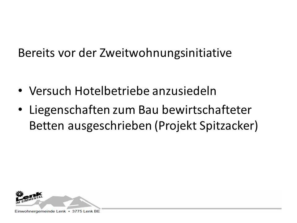 Bereits vor der Zweitwohnungsinitiative Versuch Hotelbetriebe anzusiedeln Liegenschaften zum Bau bewirtschafteter Betten ausgeschrieben (Projekt Spitzacker)