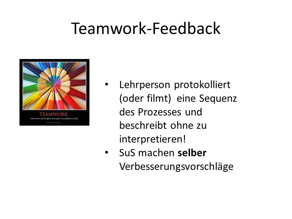 Teamwork-Feedback Lehrperson protokolliert (oder filmt) eine Sequenz des Prozesses und beschreibt ohne zu interpretieren! SuS machen selber Verbesseru