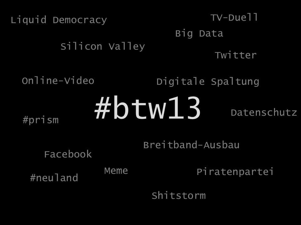 Politik und Staat im Netz #btw13 Facebook Twitter Piratenpartei Online-Video #prism Meme Breitband-Ausbau Shitstorm #neuland Silicon Valley Big Data Datenschutz Digitale Spaltung Liquid Democracy TV-Duell