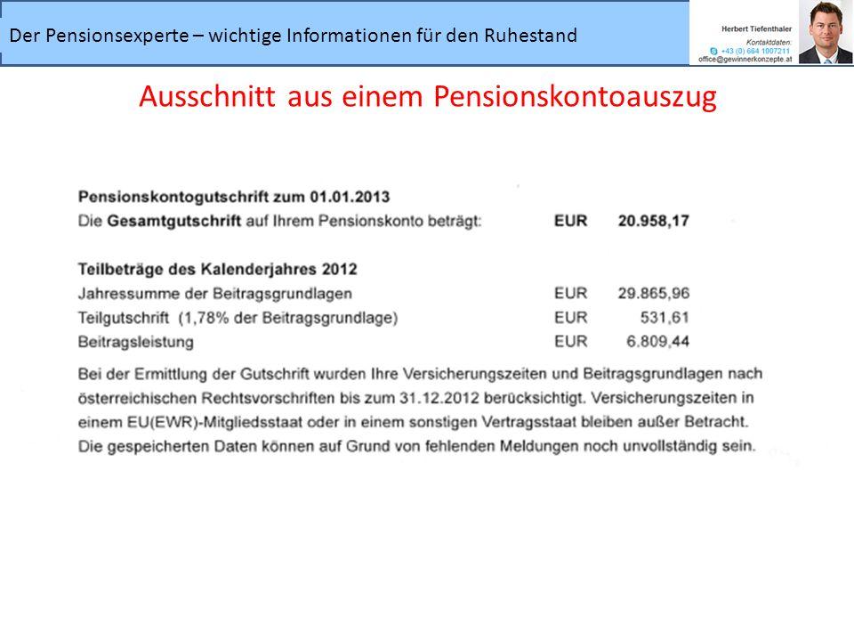 Der Pensionsexperte – wichtige Informationen für den Ruhestand Ausschnitt aus einem Pensionskontoauszug