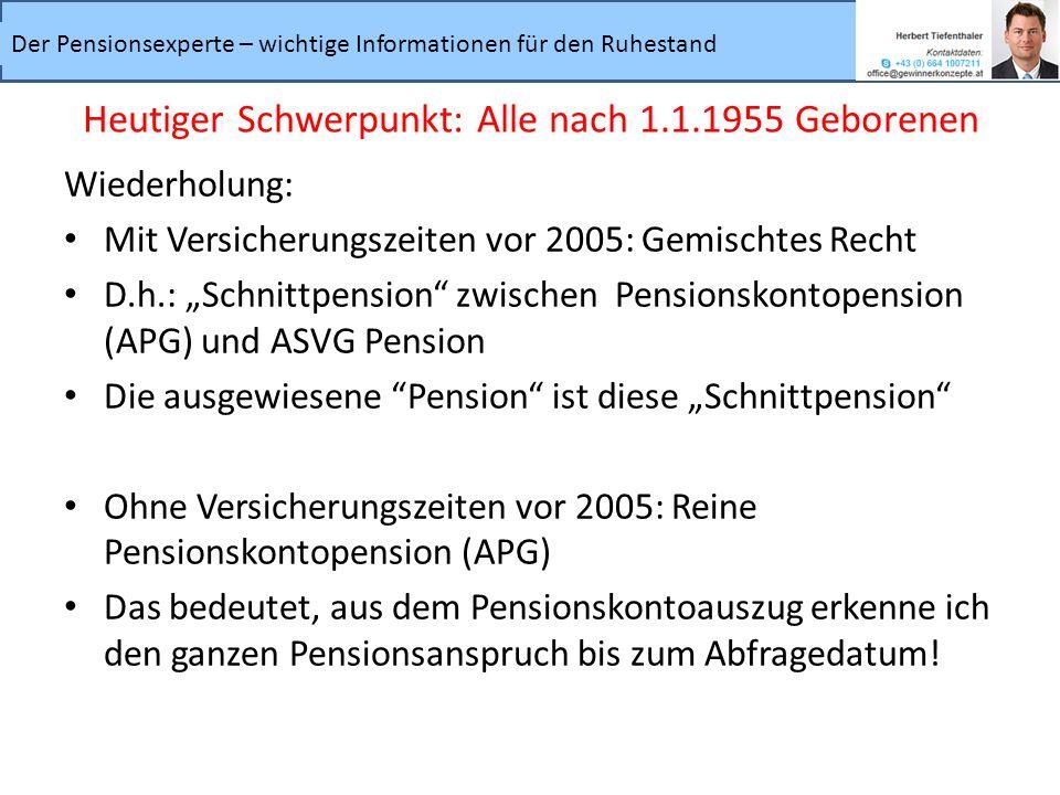 Der Pensionsexperte – wichtige Informationen für den Ruhestand Wiederholung: Mit Versicherungszeiten vor 2005: Gemischtes Recht D.h.: Schnittpension z