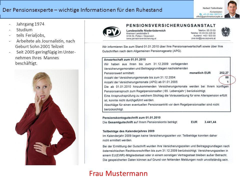 Der Pensionsexperte – wichtige Informationen für den Ruhestand Frau Mustermann -Jahrgang 1974 -Studium -teils Ferialjobs, -Arbeitete als Journalistin,