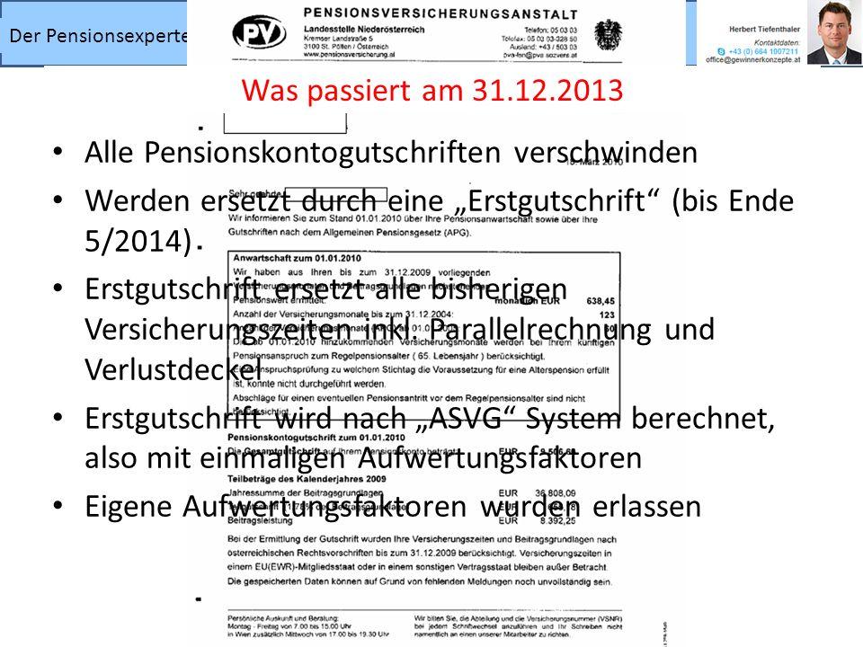 Der Pensionsexperte – wichtige Informationen für den Ruhestand Alle Pensionskontogutschriften verschwinden Werden ersetzt durch eine Erstgutschrift (b