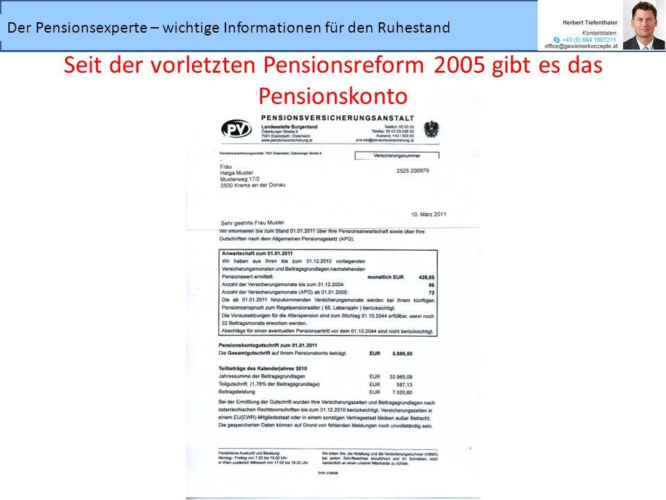 Der Pensionsexperte – wichtige Informationen für den Ruhestand Seit der vorletzten Pensionsreform 2005 gibt es das Pensionskonto