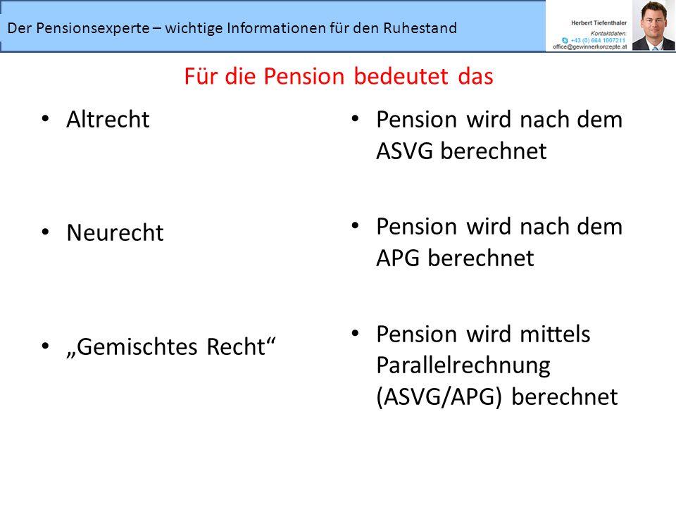 Der Pensionsexperte – wichtige Informationen für den Ruhestand Altrecht Neurecht Gemischtes Recht Pension wird nach dem ASVG berechnet Pension wird na