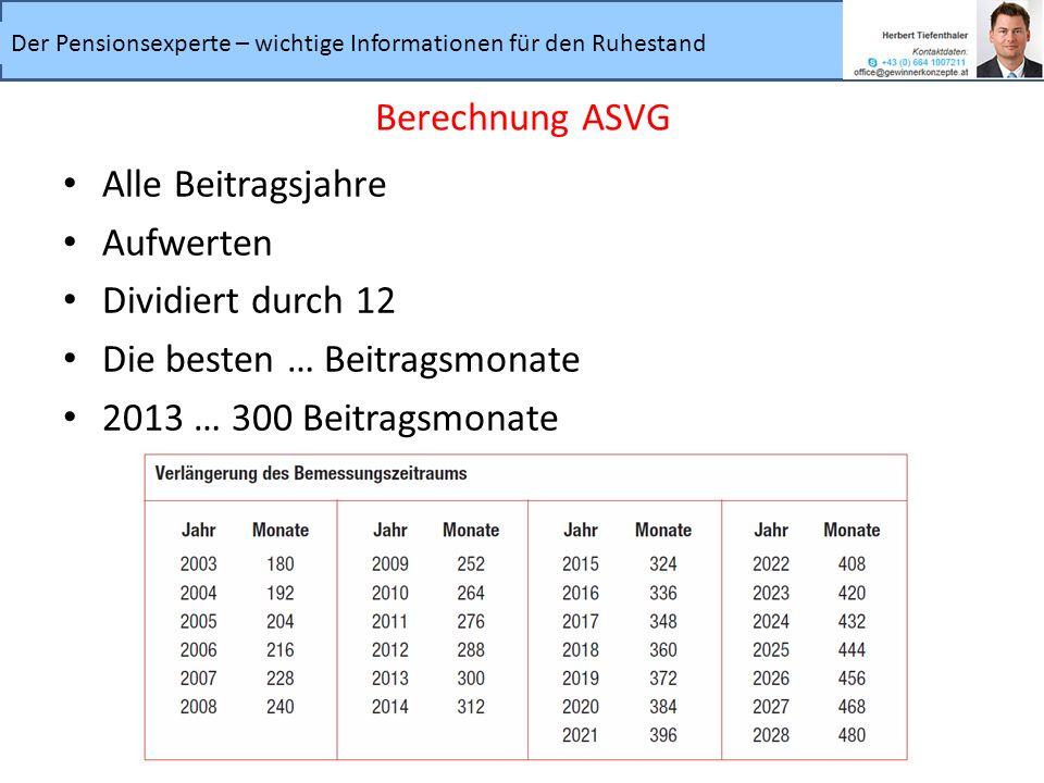Der Pensionsexperte – wichtige Informationen für den Ruhestand Alle Beitragsjahre Aufwerten Dividiert durch 12 Die besten … Beitragsmonate 2013 … 300