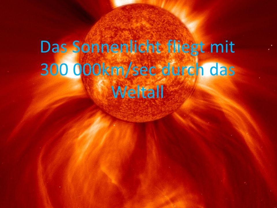 Das Sonnenlicht fliegt mit 300 000km/sec durch das Weltall