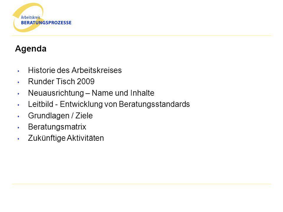 Agenda Historie des Arbeitskreises Runder Tisch 2009 Neuausrichtung – Name und Inhalte Leitbild - Entwicklung von Beratungsstandards Grundlagen / Ziel