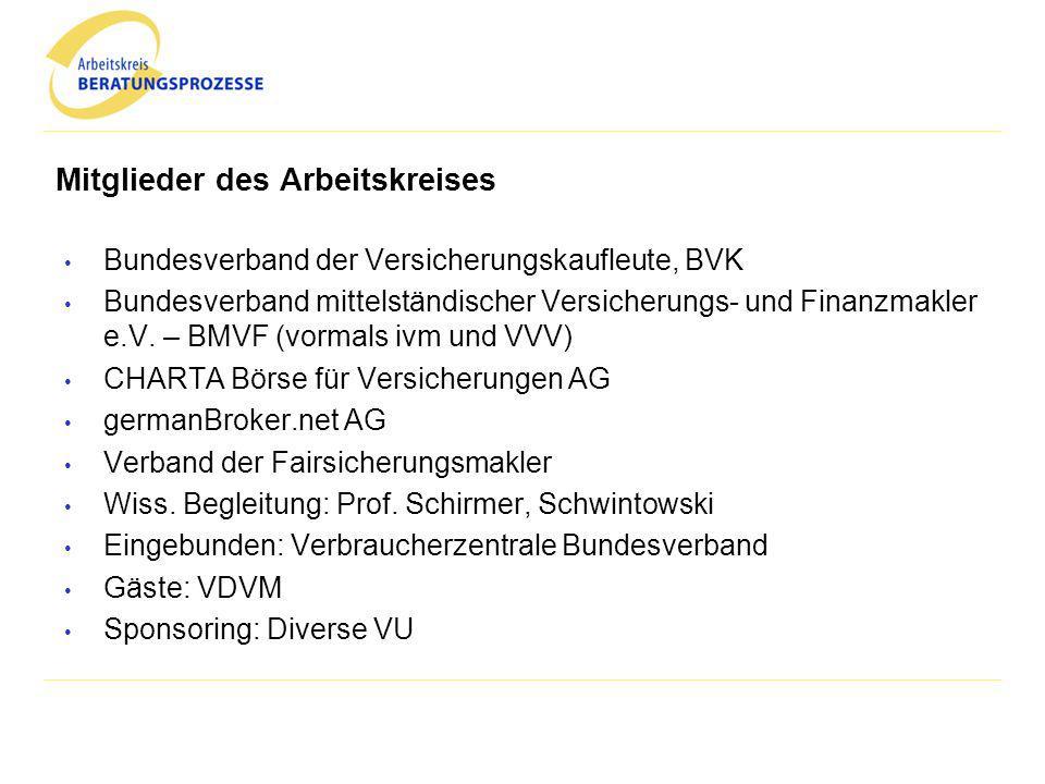 Mitglieder des Arbeitskreises Bundesverband der Versicherungskaufleute, BVK Bundesverband mittelständischer Versicherungs- und Finanzmakler e.V. – BMV
