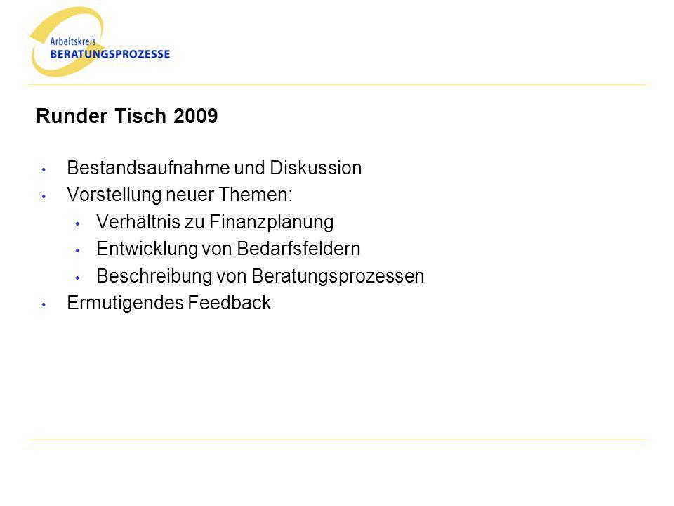 Runder Tisch 2009 Bestandsaufnahme und Diskussion Vorstellung neuer Themen: Verhältnis zu Finanzplanung Entwicklung von Bedarfsfeldern Beschreibung vo