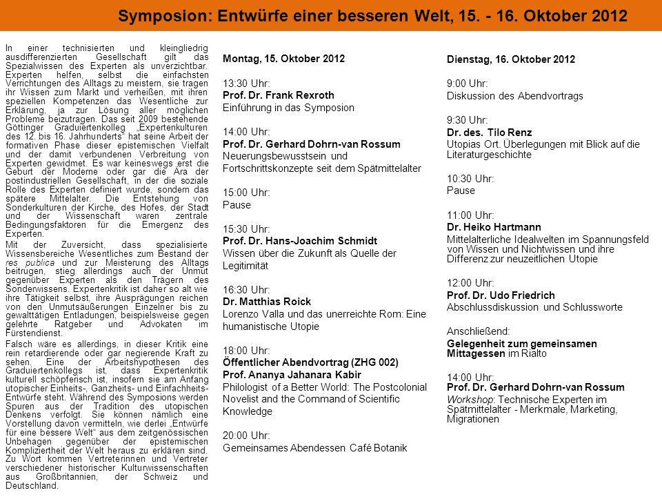Montag, 15. Oktober 2012 13:30 Uhr: Prof. Dr.