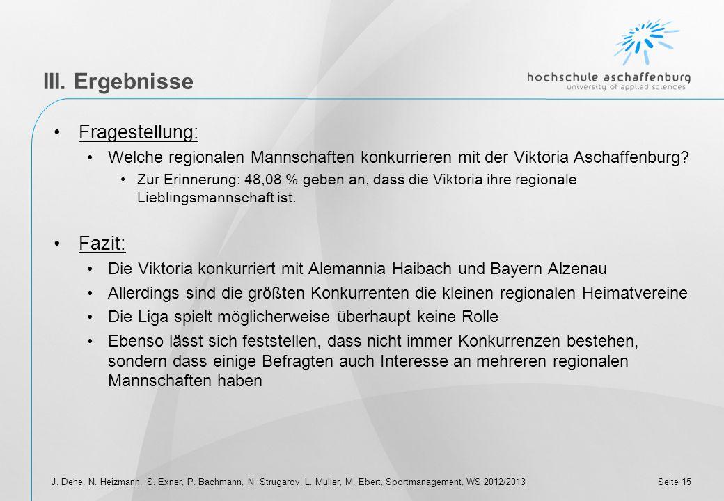 Seite 14 III. Ergebnisse Fragestellung: Wie viele der Befragten haben bei der Frage nach der Lieblingsmannschaft allgemein schon Viktoria geantwortet?