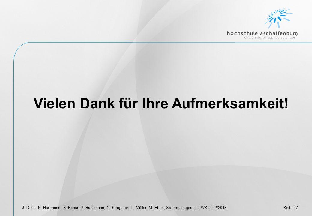 Seite 16J. Dehe, N. Heizmann, S. Exner, P. Bachmann, N. Strugarov, L. Müller, M. Ebert, Sportmanagement, WS 2012/2013 IV. Fazit Grundsätzlich besteht